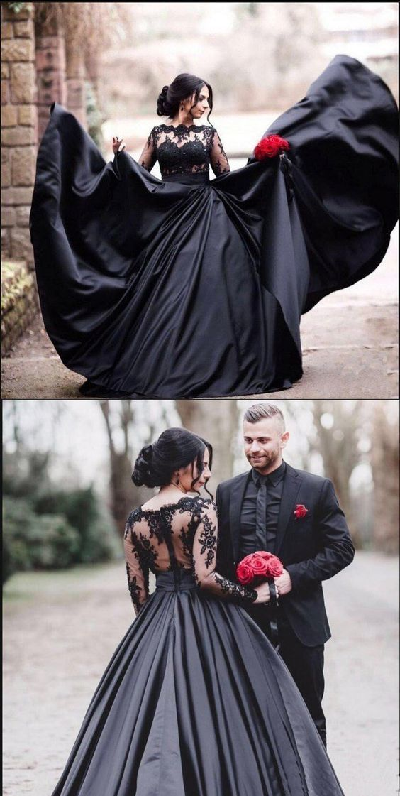 Black Long Sleeves Lace Elegant Modest Prom Dress, A-Line Ball Gown Weding dresses