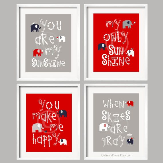 Kids Wall Art You Are My Sunshine - Red, Navy, Gray Nursery Decor Prints/ Elephant and bird -  8x10 - baby shower gift, for boy or girl
