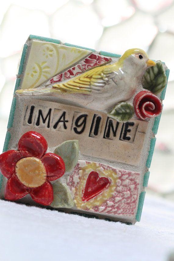 IMAGINE bird red flowers heart Mosaic wall by Lisabetzmosaicart