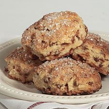 Cinnamon-Eggnog Scones  ~  Wondering what to do with that quart of eggnog... besides drink it, of course? Use it to make these delicious eggnog-scented, cinnamon chip- studded scones.