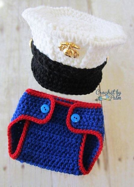 Crochet Marine Corps Blues Cover and Diaper cover set, Baby Hat Photography prop. $38.00, via Etsy.