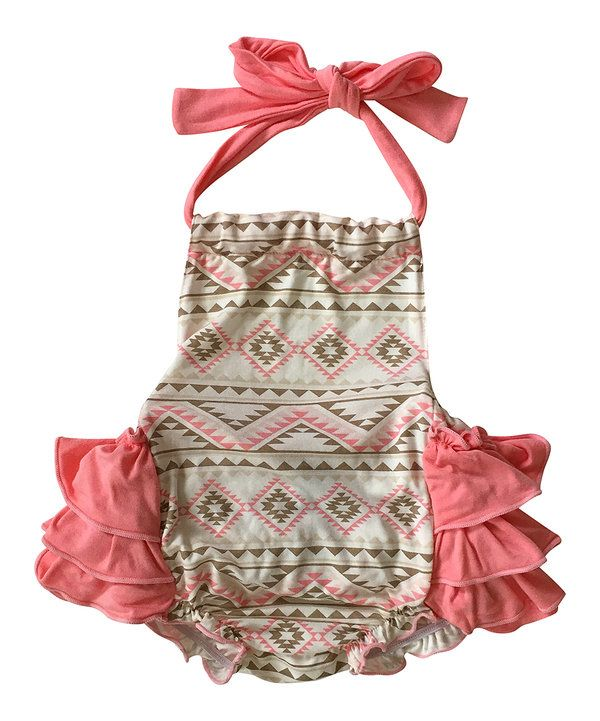 Look at this Pink Geometric Ruffle Bubble Romper on #zulily today!