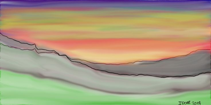 """Abstract Sunset $10, High Resolution digital format, made for print size 12"""" X 6"""", 300 pixels/inch. Can be printed larger on canvas or photo paper. For private use only, no resale, no public use allowed without prior written consent by the author. Copyrights IsabelleDore, i.d.arts. www.isabelledore.com"""