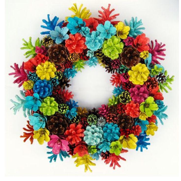 Multi color pine co n e wreath.