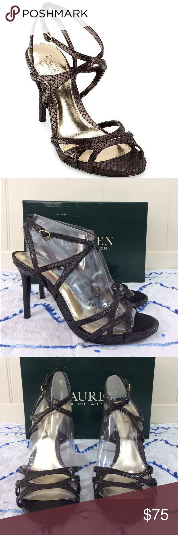 """NWT❣️ Lauren by Ralph Lauren   Dress Sandals ✨New in the box!✨ • Lauren by Ralph Lauren """"Tululla"""" dress sandals. • 100% leather upper - 100% synthetic lining. • In the color """"Oxdz Brown Snake"""" • Heel height measures: 4 1/4"""". • Size 10. • {If you have any questions please ask before buying.} •Colors may vary slightly from pictures• Lauren Ralph Lauren Shoes Heels"""