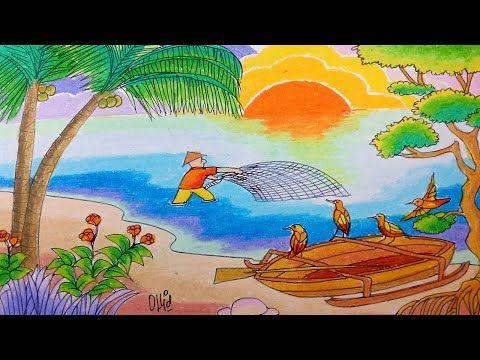Cara Menggambar Nelaiyan Menjala Ikan Dan Pemandangan Pantai Pantai Pemandangan Cara Menggambar