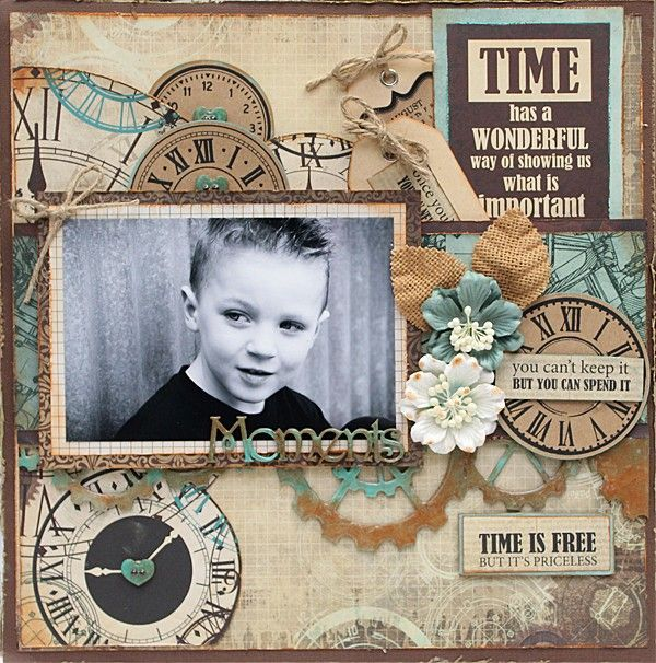 Kaisercraft Time Machine. A Special Moment In Time - double page from Paper…