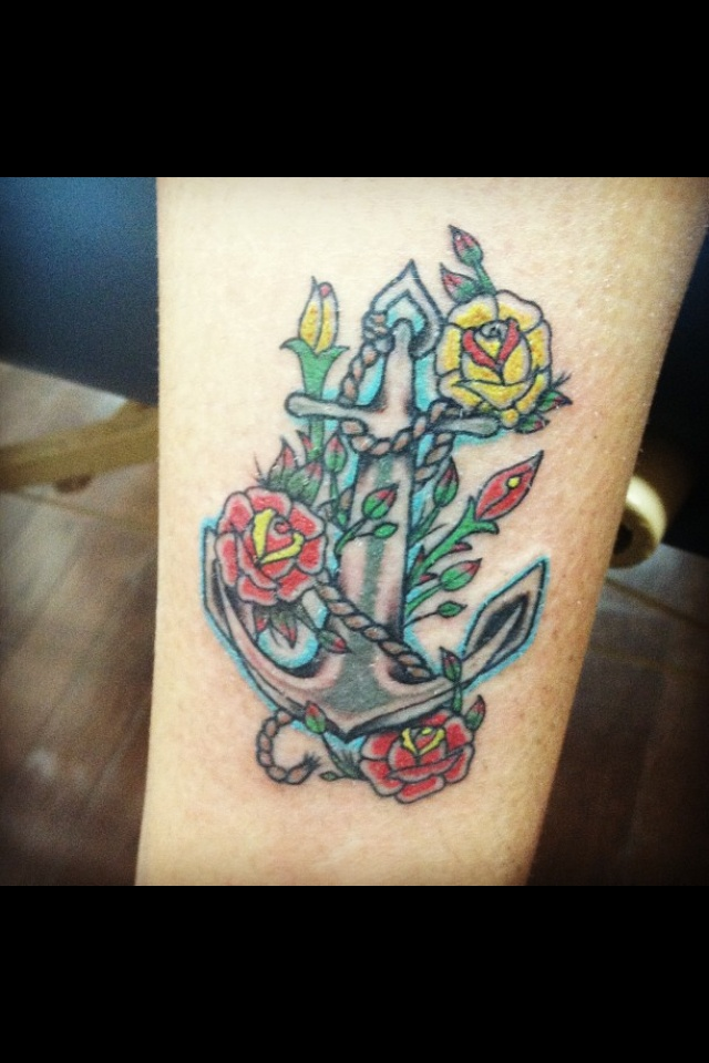 Anchor, roses, flower tattoo, anchor tattoo, ankle tattoo