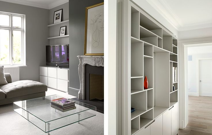 Bespoke storage design for contemporary lounge - media storage unit and display cabinets.