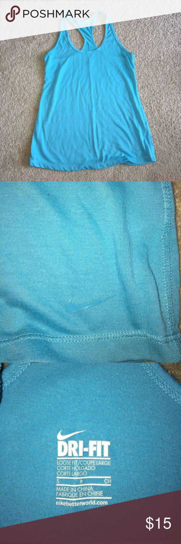 Tiffany blue Nike Racer Back tank Good used condition Nike Tiffany blue racer back tank - some pilling but overall good. Size S. Nike Tops Tank Tops