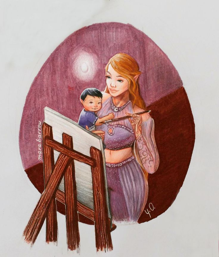 okay I can say now that MY HEART IS FULL. I had this pictured in my head for too long. Just Feyre painting with her lil baby.