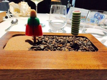 Waldorf salad rocket & Salmon, avocado and horseradish Twister @ The Fat Duck, Bray, England