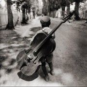 Child with a double bass