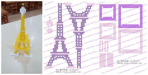 3D Eiffel Tower perler beads