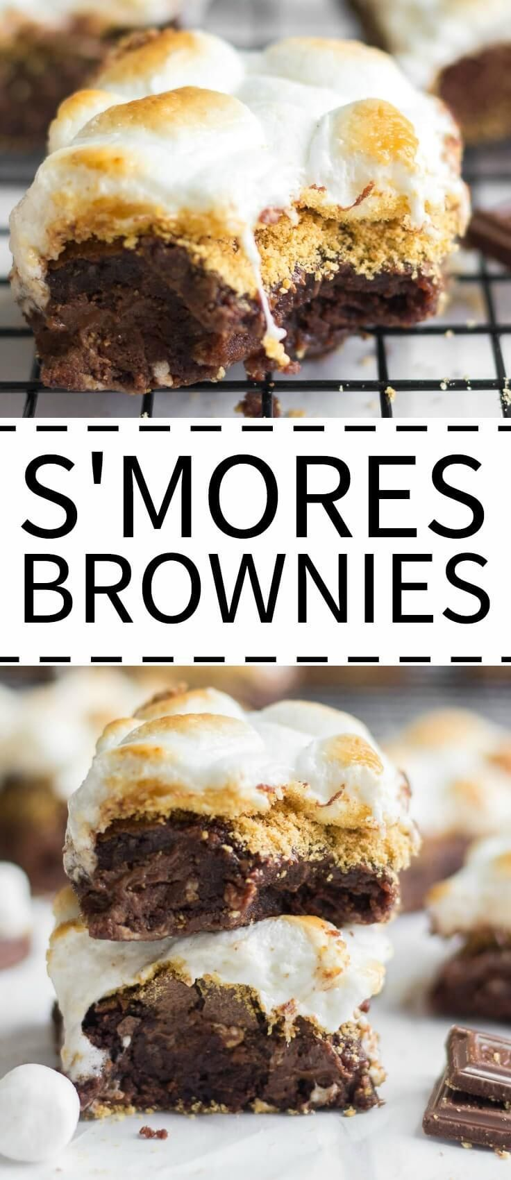You will love these easy s'mores brownies! These thick and chewy s'mores brownies are the best way to kick off your summer festivities. The brownies are layered with Hershey's chocolate and graham cracker crumbs and topped with toasted marshmallows. Make this easy summer dessert for all your summer parties!