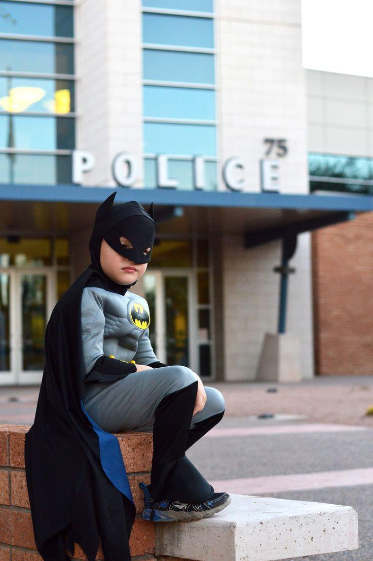 Just waiting for the Batsignal before bedtime!  HAHAHA! Child's Batman costume Halloween portraits.