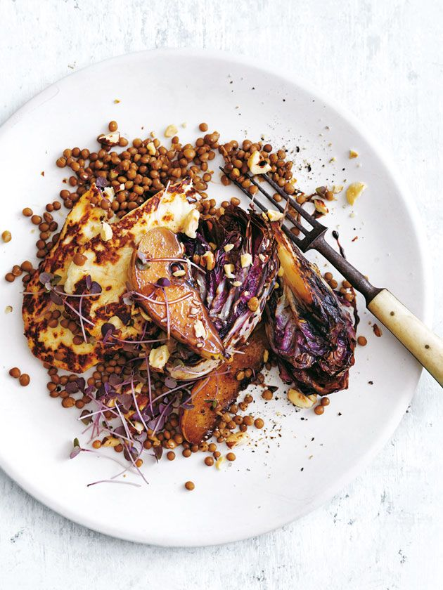 Charred Radicchio Pear Haloumi And Hazelnut Salad | Donna Hay