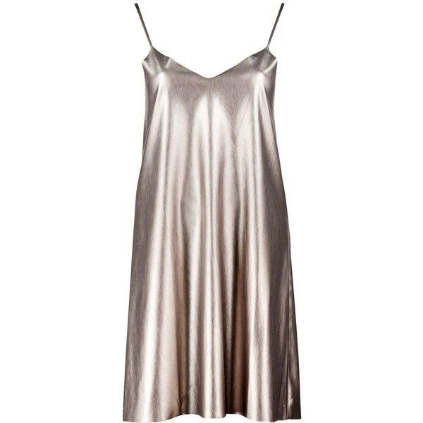 Boohoo Melody Metallic Faux Leather Slip Dress | Boohoo ($18) ❤ liked on Polyvore featuring dresses, vestidos, brown dress, special occasion dresses, cami dress, metallic bodycon dress and bodycon dress