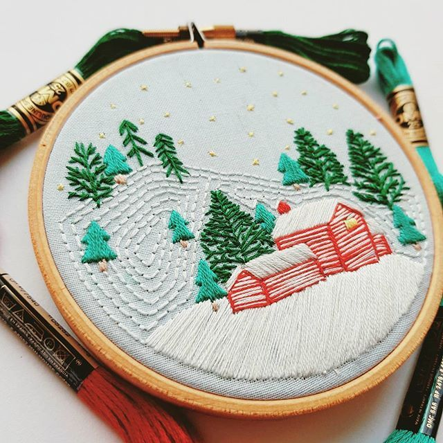 Too soon for winter scenes??..... not in my house  . . . #embroidery #embroideryart #embroiderydesign #embroideryhoop #hoopart #modernembroidery #contemporaryembroidery #dmcthreads #dmcraft #dmcembroidery #embroideryinstaguild #modernthreads #needlepoint #stitchersofinstagram #feelingstitchy #damngoodstitch #nicegirlsneedleclub #stitching #threads #christmas #etsy #makersgonnamake #handsewn #handmade #homemade #winter