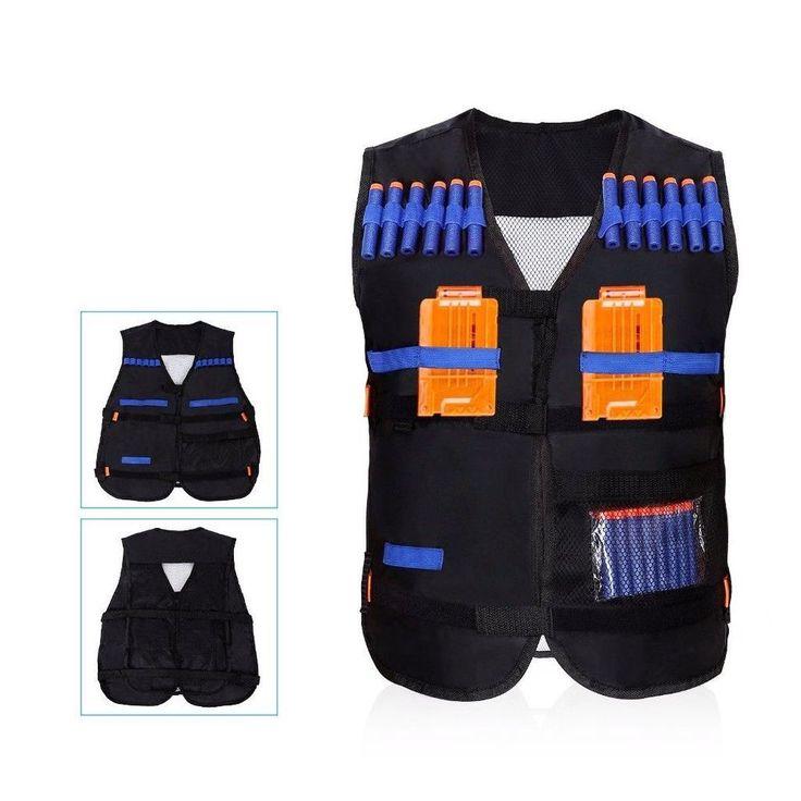 Tactical Vest Black Kids Nerf Gun Battle Children Combat Hunting Play Fun Safety #TacticalVestBlack
