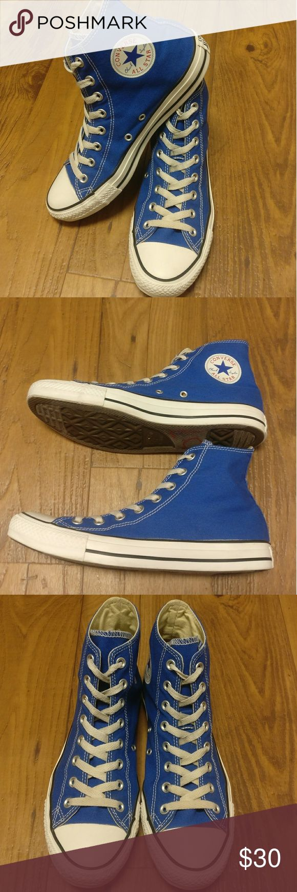Blue High Top Converse Blue Converse Chuck Taylor's  All Star High Tops  Women's Size 10 / Men's Size 8 / Unisex Style   These shoes are nearly perfect. Worn only a couple times. Just like new. No rips or tears on canvas or rubber. No wear on the soles and sides.  These shoes look awesome! Converse Shoes Sneakers