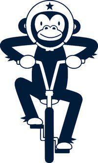 """Affe auf Rad, marine, """"Sportsfreunde"""", Velours-Motiv zum Aufbügeln"""