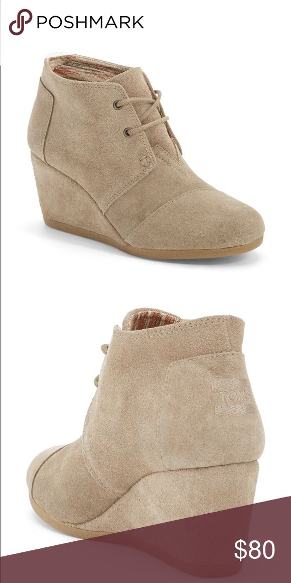 Toms taupe desert wedge Brand new in box! Box is a little squished in one corner but it came to me like that. Really comfy and super cute. Price is firm TOMS Shoes Wedges