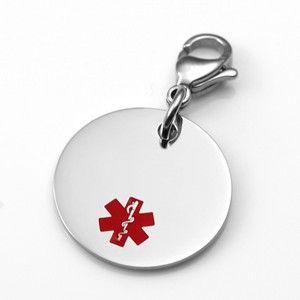 3/4 Inch Medical Alert Charm for Bracelets Stainless Steel