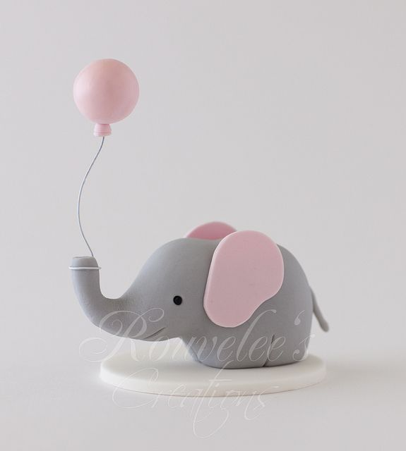 Cake Topper:: Elephant with Balloon by Rouvelee's Creations, via Flickr @Alissa Zaal