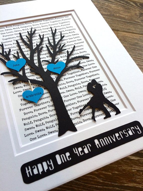 Personalized First Year Anniversary Gift Tree Long by HandmadeHQ