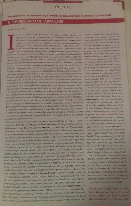 Recensione de Il sovversivo col farfallino su L'Antifascista, marzo-aprile 2016, articolo di Maria Grazia Toma