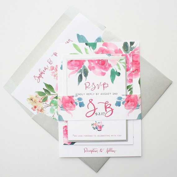 Love these floral wedding invitations for a spring wedding.