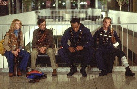 1978: Newswoman Francine (Gaylen Ross), Stephen (David Emgee), Peter (Ken Foree) and Roger (Scott Reiniger) are the only survivors who make it to the mall.