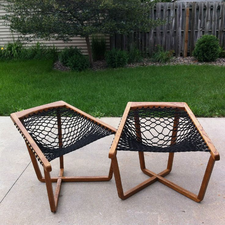 Mid Century Outdoor Furniture: Pair Of Sling Chairs, Rope Chairs Mid Century Mod, Patio