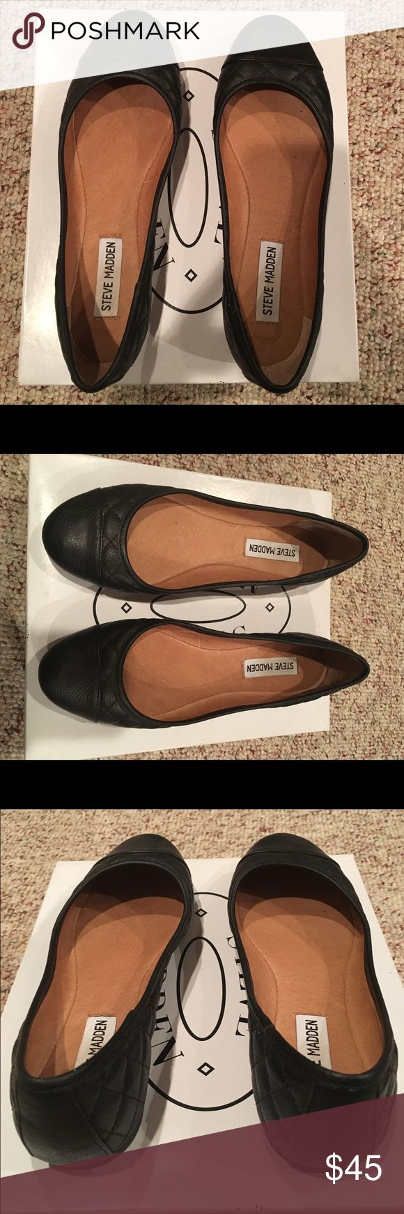 STEVE MADDEN Flats Steve Madden Flats ▪️ Black leather ▪️ Quilted Texture ▪️ Camel Interior ▪️Never worn ▪️ Size 7 ▪️ Fit true to size ▪️ Make me an offer! Steve Madden Shoes Flats & Loafers
