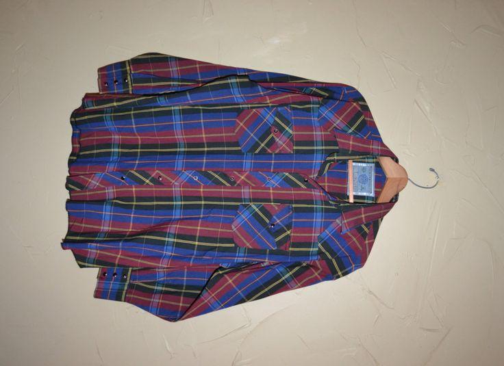 Vintage Plaid Shirt 80s Dress Shirt Long Sleeve Shirt Rockabilly Shirt Country Western Shirt Size XXL by founditinatlanta on Etsy