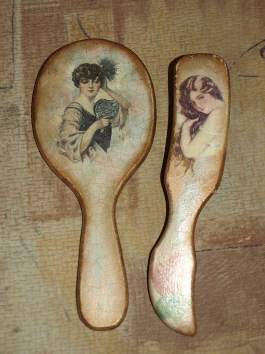 Натворилось за недельку больничного… http://dcpg.ru/blogs/1436/ Click on photo to see more! Нажмите на фото чтобы увидеть больше! decoupage art craft handmade home decor DIY do it yourself comb mirror  accessories