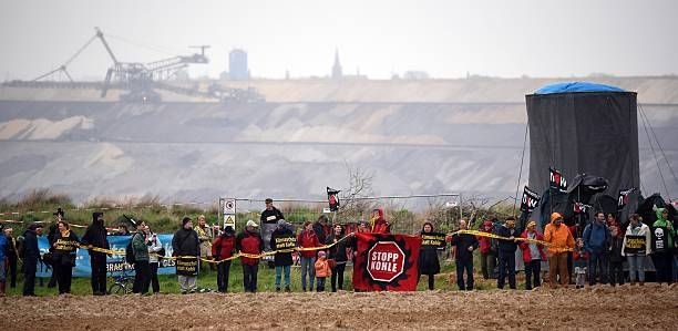 Lignite mining opponents demonstrate against Garzweiler surface mine near Immerath, North Rhine-Westfalia, western Germany on April 25, 2015.