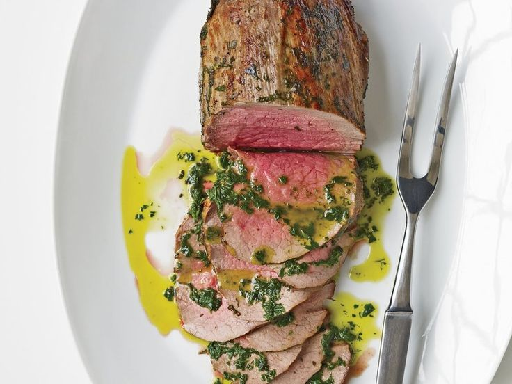 Rare Roast Beef with Fresh Herbs & Basil Oil