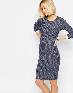 Selected Giny Bodycon Dress in Rib Knit