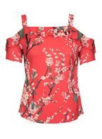 Womens *Quiz Red Floral Print Strappy Top- Red