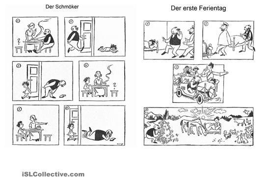 Einige Bildergeschichten zum Beschreiben, Nacherzählen im Perfekt, im Präsens etc. - DaF Arbeitsblätter