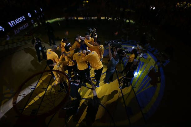 The Golden State Warriors are introduced prior to Game One of the NBA Western Conference SemiFinals against the Utah Jazz at ORACLE Arena on May 2...