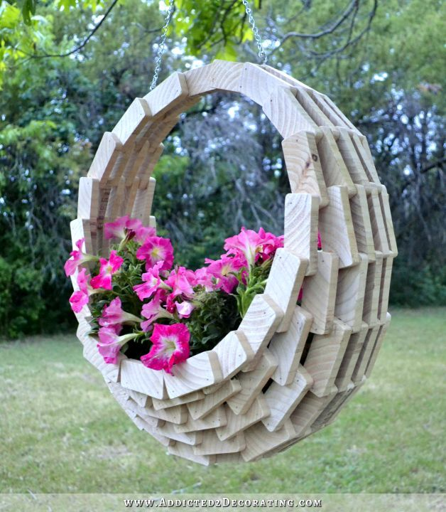 scrap wood hanging flower basket 23