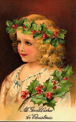 Vintage Christmas card, little girl in holly chaplet--All Good Wishes for Christmas