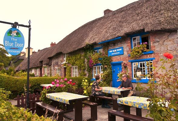 The quaint looking Blue Door Restaurant, Adare, County Limerick, Ireland.