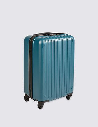 4-Wheel Hard Suitcase with Security Zip & Lock in Cabin | M&S // 53.5cm x 36.5cm x 22.5cm. 3kg, 37L