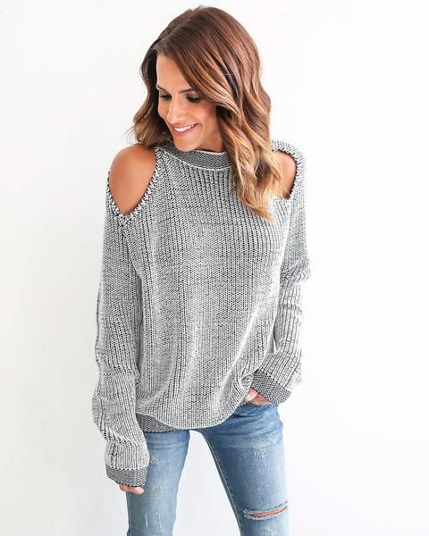 12/10/16 (Last Updated): Sweater arrived at our Warehouse. We will be shipping these orders over the next 2-3 business days! We love the knit look of our Chill Zone Cold Shoulder Sweater! The white an