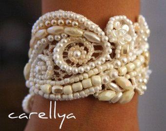 BRIDAL CUFF BRACELET ivory lace cuff bracelet beaded by carellya