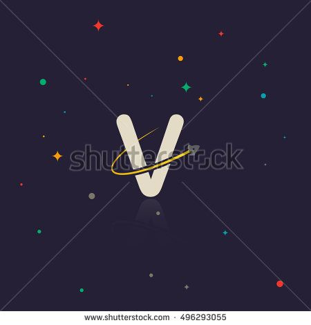 Letter V logo with swoosh and rocket, space themed